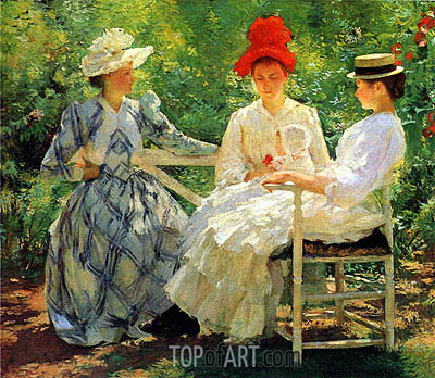 In a Garden,  | Edmund Charles Tarbell | Painting Reproduction
