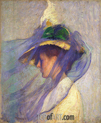 The Blue Veil, 1898 | Edmund Charles Tarbell | Painting Reproduction