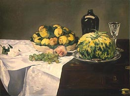 Still Life with Melon and Peaches, c.1866 by Manet | Painting Reproduction