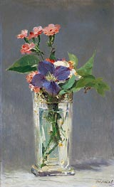 Pinks and Clematis in a Crystal Vase, c.1882 by Manet | Painting Reproduction