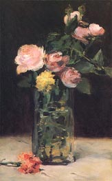 Roses in a Glass Vase, 1883 by Manet | Painting Reproduction