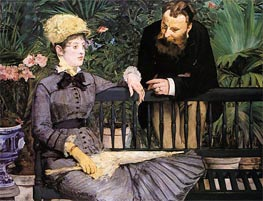 In the Conservatory, 1879 by Manet | Painting Reproduction