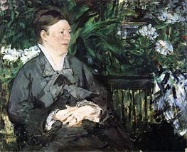 Madame Manet in the Conservatory, 1879 by Manet | Painting Reproduction