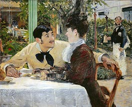 The Garden of Pere Lathuille, 1879 by Manet | Painting Reproduction