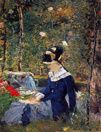 Young Woman in a Garden, 1880 by Manet | Painting Reproduction