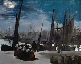 Moonlight over Boulogne Harbor | Manet | Gemälde Reproduktion