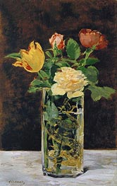 Roses and Tulips in a Vase | Manet | Gemälde Reproduktion