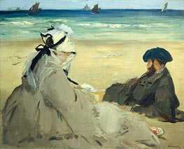 At the Beach, 1873 by Manet | Painting Reproduction