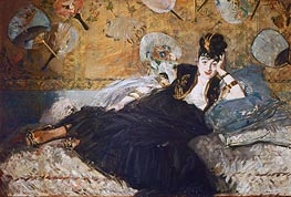 Woman with Fans (Nina de Callias), 1873 by Manet | Painting Reproduction