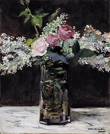 Vase of White Lilacs and Roses, 1883 by Manet | Painting Reproduction
