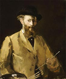 Self Portrait with a Palette, c.1878/79 by Manet | Painting Reproduction