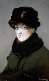 Mery Laurent Wearing a Fur-Collared Cardigan, 1882 by Manet | Painting Reproduction