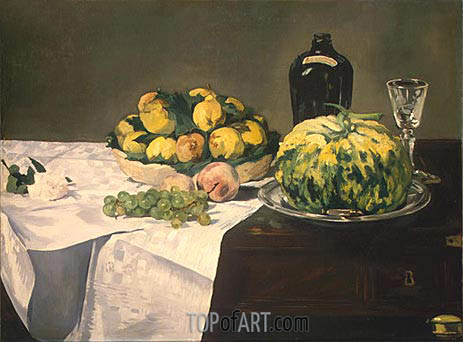 Still Life with Melon and Peaches, c.1866 | Manet| Painting Reproduction