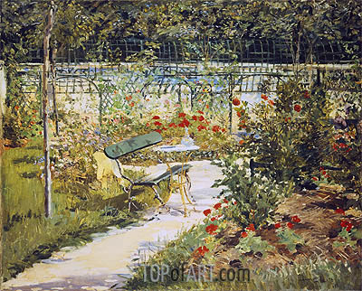 The Bench, The Garden at Versailles, 1881 | Manet| Painting Reproduction