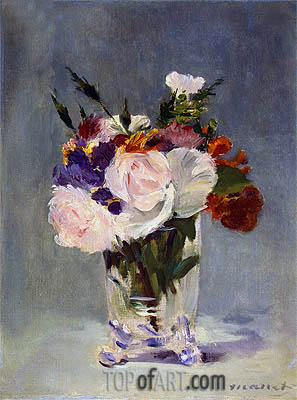 Flowers in a Chrystal Vase, c.1882 | Manet| Gemälde Reproduktion