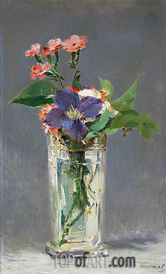 Pinks and Clematis in a Crystal Vase, c.1882 | Manet | Gemälde Reproduktion