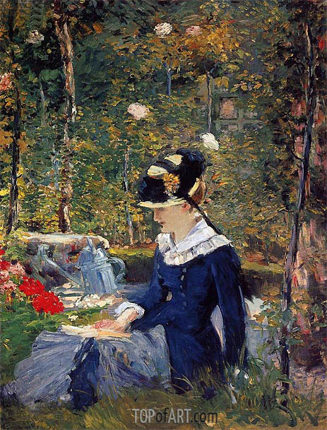 Young Woman in a Garden, 1880 | Manet | Painting Reproduction