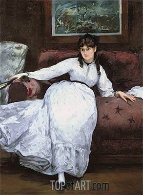Repose: Portrait of Berthe Morisot, 1870 | Manet| Gemälde Reproduktion