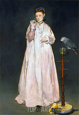 Young Lady with Parrot, 1866 | Manet| Painting Reproduction