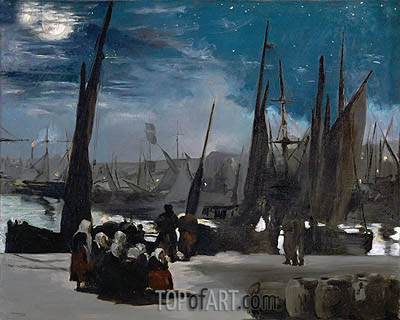 Moonlight over Boulogne Harbor, 1869 | Manet| Painting Reproduction