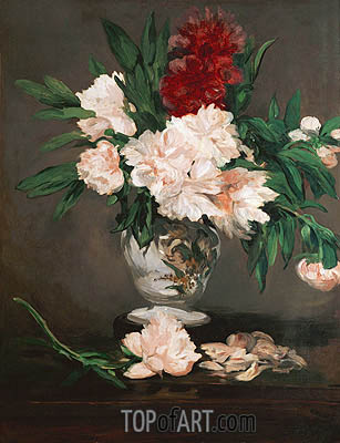 Peonies in a Vase on a Stand, 1864 | Manet | Painting Reproduction