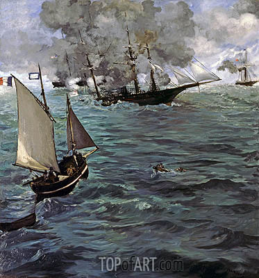 Battle of the 'Kearsarge' and the 'Alabama', 1864 | Manet| Painting Reproduction