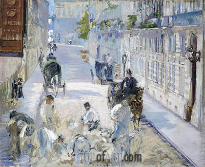 The Rue Mosnier with Pavers, 1878 | Manet| Painting Reproduction