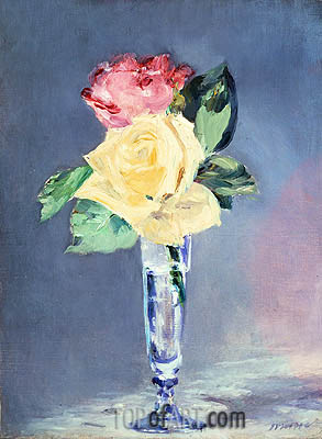 Roses in a Champagne Glass, c.1882 | Manet| Painting Reproduction