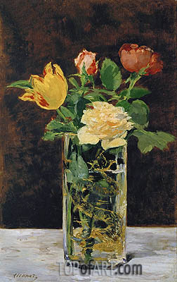 Roses and Tulips in a Vase, 1883 | Manet| Gemälde Reproduktion