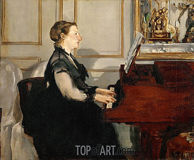 Madame Manet at the Piano, 1868 | Manet| Gemälde Reproduktion