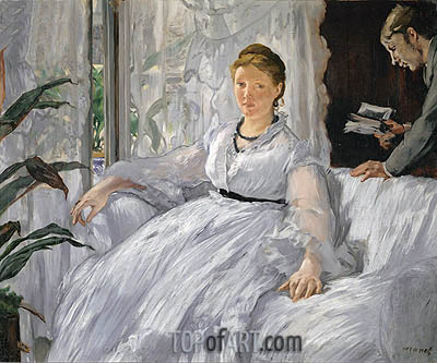 Madame Manet (Reading), 1868 | Manet | Painting Reproduction