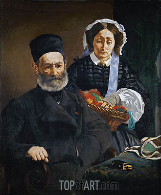 Portrait of Monsieur and Madame Auguste Manet, 1860 | Manet| Painting Reproduction