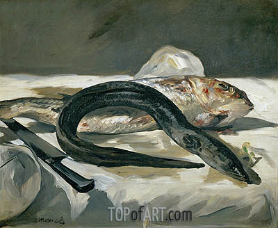 Eel and Red Mullet, 1864 | Manet| Painting Reproduction