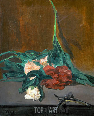 Stem of Peonies and Secateurs, 1864 | Manet | Gemälde Reproduktion