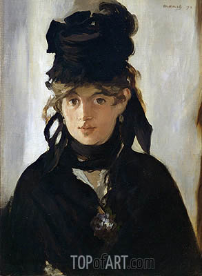 Berthe Morisot with a Bouquet of Violets, 1872 | Manet| Painting Reproduction