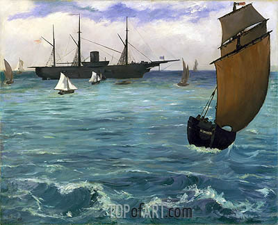 The 'Kearsarge' at Boulogne, 1864 | Manet| Painting Reproduction