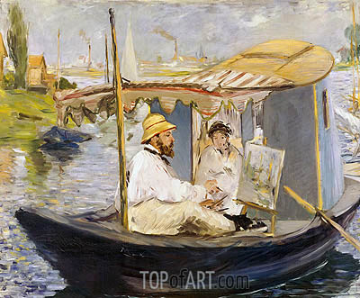 Manet | The Boat (Claude Monet, with Madame Monet, Working on His Boat in Argenteuil), 1874