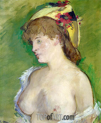 The Blonde with Bare Breasts, 1878 | Manet| Painting Reproduction