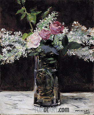 Vase of White Lilacs and Roses, 1883 | Manet| Painting Reproduction
