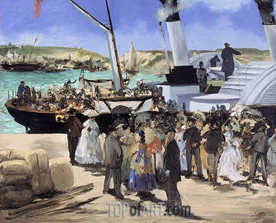 The Folkestone Boat, Boulogne, 1869 | Manet| Painting Reproduction