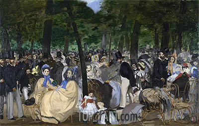 Music in the Tuileries Gardens, 1862 | Manet| Painting Reproduction