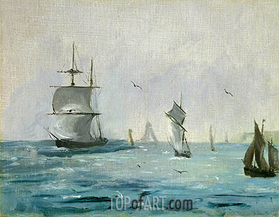 Fishing Boat Arriving with the Wind Behind, 1864 | Manet| Painting Reproduction