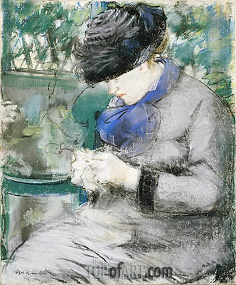 Girl Sitting in the Garden (Knitting), 1879 | Manet | Gemälde Reproduktion