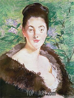 Woman in a Fur Coat, undated | Manet| Painting Reproduction