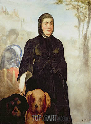 Woman With Dogs, 1858 | Manet | Gemälde Reproduktion