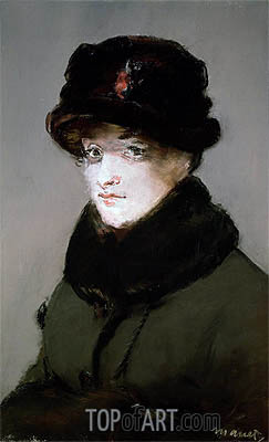 Mery Laurent Wearing a Fur-Collared Cardigan, 1882 | Manet | Gemälde Reproduktion