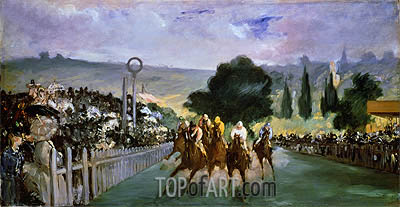 The Races at Longchamp, 1866 | Manet | Painting Reproduction