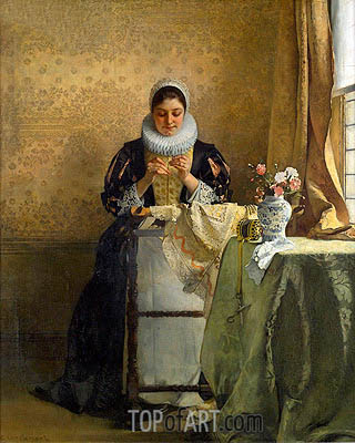 The Lace Maker, undated | Eduard Charlemont| Gemälde Reproduktion