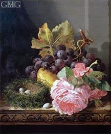 Still Life, Roses, Fruit and Bird's Nest, undated von Edward Ladell | Gemälde-Reproduktion