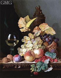 Still Life with Peaches, Plums, Grapes and Walnuts | Edward Ladell | outdated